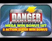 DANGER HIGH VOLTAGE ( BIG TIME GAMING) MEGA BIG WIN! & ACTION SUPER BIG WIN BONUS. 2 BONUSES