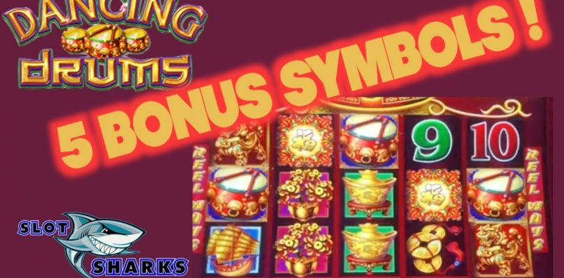 5 Bonus Symbols for a BIG WIN on Dancing Drums !