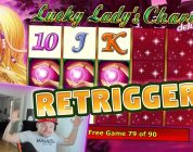 RETRIGGERS! Lucky Ladys Charm 6 BIG WIN — HUGE WIN — Slots (4 euro bet)
