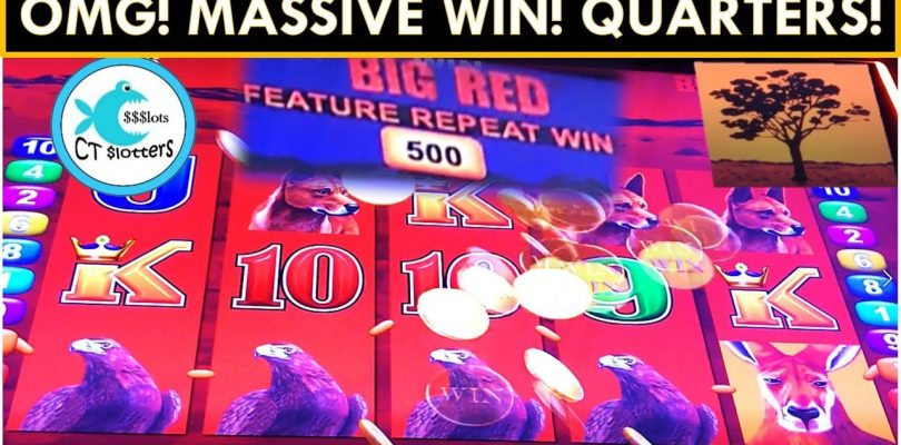 MASSIVE WIN! REPEAT WIN FEATURE IS THE BEST EVER!!! BIG RED SLOT MACHINE
