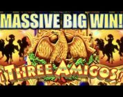 ★MASSIVE BIG WIN!!★ THE THREE AMIGOS (Ainsworth) & LIBERTY LINK Slot Machine Bonus