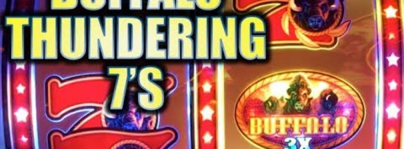 ★NEW BUFFALO SLOT!★ BUFFALO THUNDERING 7S! (Aristocrat) & FIESTA PEPPERS BIG WIN! Slot Machine Bonus