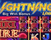 LIGHTNING LINK Slot Machine — TIKI FIRE — Very Big Win Bonus — Aristocrat Pokies Spielhalle