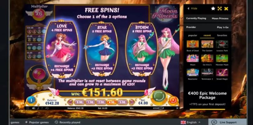 HUGE MEGA BIG WIN on Moon Princess Slot Machine — 4€ Bet