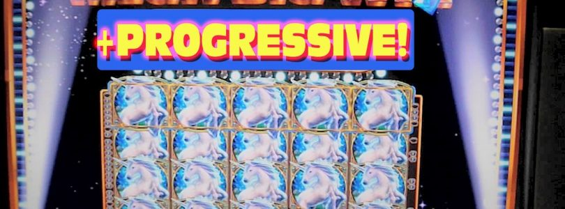 Mystical Unicorn Slot Machine MASSIVE BIG HUGE WIN WITH PROGRESSIVE JACKPOT