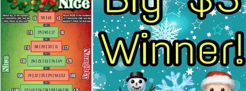 Big Win! Ohio $3 Christmas Ticket! Naughty Or Nice Scratch Off (2018)