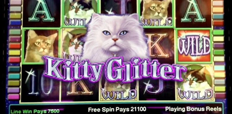 BIG WIN! Kitty Glitter Slot Machine Bonus Retrigger