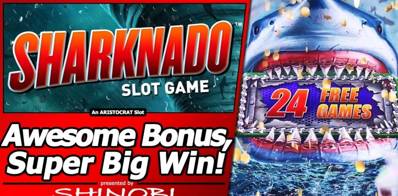 Sharknado Slot — Super Big Win in Long, Awesome Free Spins Bonus with Re-Trigger/Multiple features