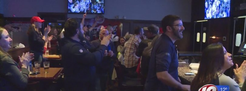 Patriots fans in East Providence celebrate the team's big win