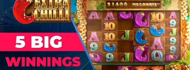 5 big winnings on Extra Chilli Slot. Mega Win on casino online slot machine.