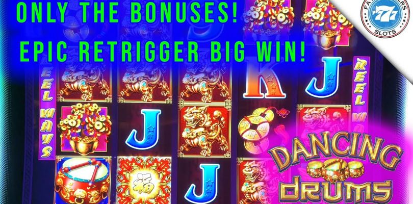 Dancing Drums Only the Bonuses! Epic Retriggers, Super Big Win! First Spin Bonus!