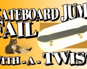 Skateboard jump FAIL turns CAT into big WIN!