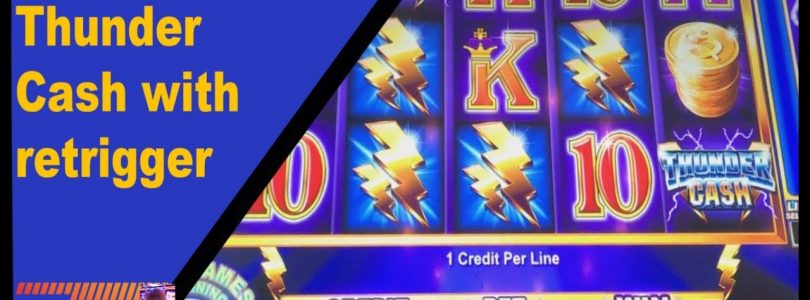 BIG win on Thunder Cash ** free game retrigger **