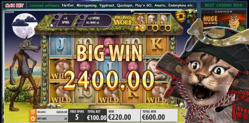 Big Bad Wolf (Quickspin) Slot — NICE BONUS BIG WIN ONLINE CASINO — MAX BET 100€
