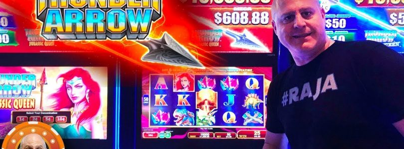 BIG WIN! Thunder Arrow Jurassic Queen Slot BONU$ and Big Handpay!