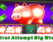 BIG WIN ON FIRST ATTEMPT!!! PIGGY BANKIN SLOT MACHINE BONUS!!!