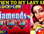 Down To Literally $0 & BIG WIN Bonus On Lock It Link Diamonds Slot Machine | Night Life Lock It Link