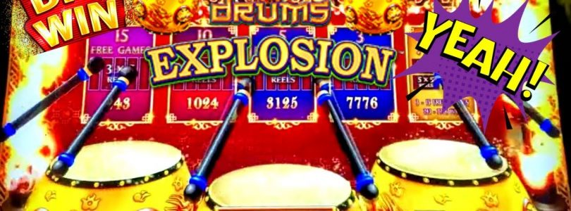 NEW Dancing Drums Explosion Slot Machine $10 Max Bet Bonus BIG WIN | New Dragon Link Slot Machine