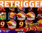 BIG WIN ON DA VINCI'S TREASURE SLOT MACHINE | PROGRESSIVE FREE SPINS RETRIGGER